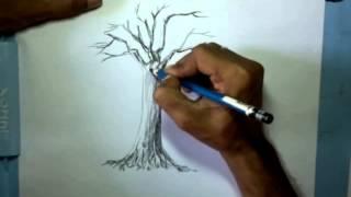 video belajar menggambar pohon