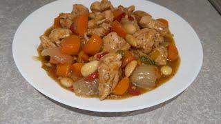 Pollo con almendras fácil y delicioso , receta completa