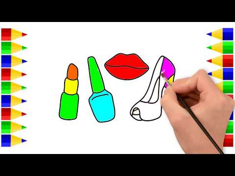 How to Draw Set of  Fashion Accessories Women -Coloring Pages For Girls Shoes, Handbag, Perfume,