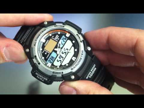 fc74e734cd30 Casio SGW-400 Sport Watch Altimeter Barometer Thermometer SGW400H-1BV -  YouTube