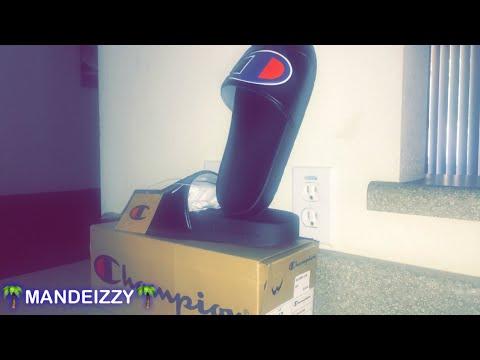 4f432f8ee4f 🌴Unboxing Champion Slides black blue🌴 - YouTube