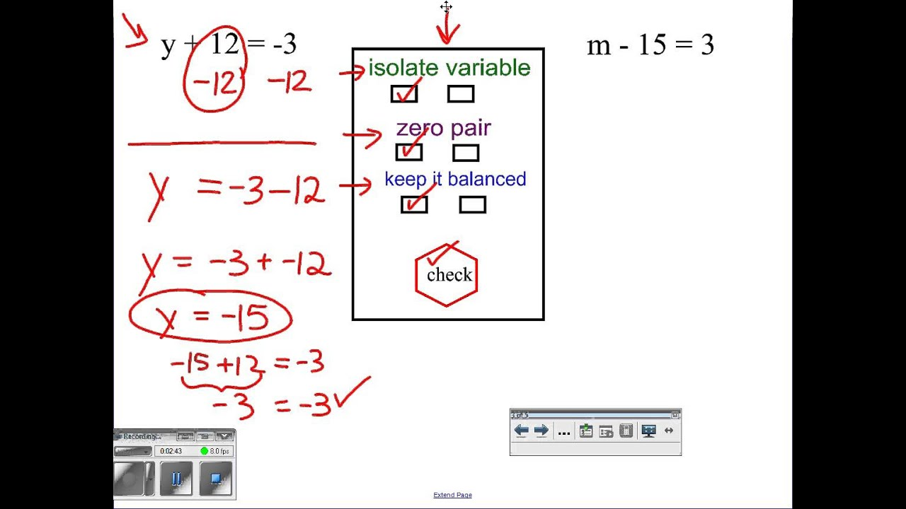 Solving addition and subtraction equations with integers - YouTube