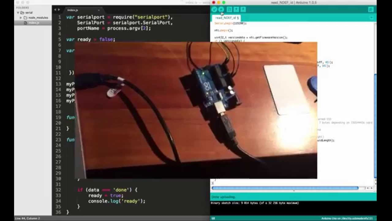 NFC tag id access with nodejs and Arduino