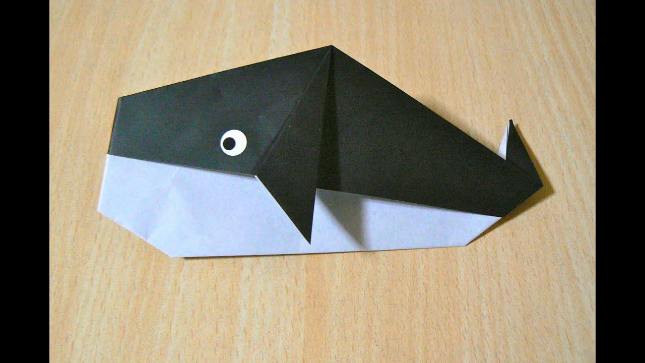 Cara membuat ikan paus. Origami. Seni melipat kertas