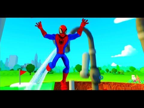 Мультик игра для детей Два Человека паука играют вместе и Гонки Тачки Машинки Disney cars