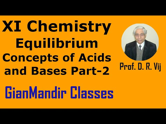 XI Chemistry - Equilibrium - Concepts of Acids and Bases Part-2 by Ruchi Mam