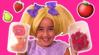 Learn Fruits With Princess Esme & Olivia 🍓 Too Many Grapes! - Princesses In Real Life | Kiddyzuzaa