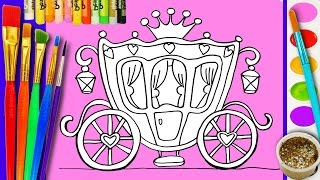 Paint Coloring Page Disney Royal Carriage Coloring for Girls How to Draw for Kids Learning Videos