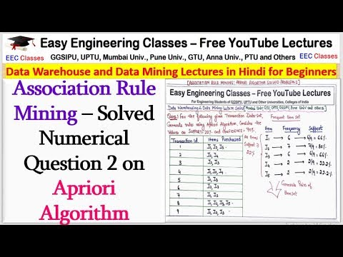 Solved Numerical Question 2 On Apriori Algorithm - Association Rule Mining(Hindi)