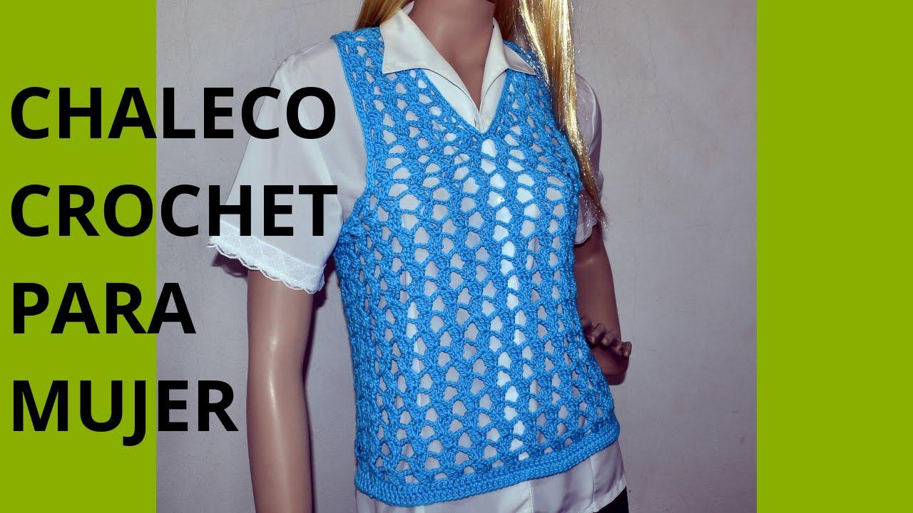 Como tejer un CHALECO Express para mujer en tejido  crochet o ganchillo.  Moda a Crochet - YouTube 64bf93706c9b
