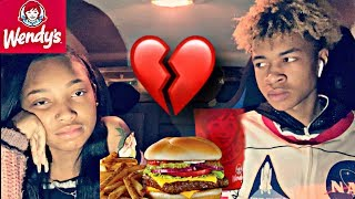 I MADE MY 15 YEAR OLD SISTER BREAK UP WITH HER BOYFRIEND ON CAMERA! | WENDY'S MUKBANG