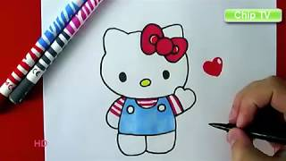 Hello Kitty coloring and drawing for Kids | Vẽ và tô màu mèo Hello Kitty