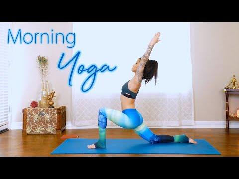 Daily Morning Yoga with Julia ♥ 15 Minute Beginners Flow, Stretches, Stress Relief | Habit Nest