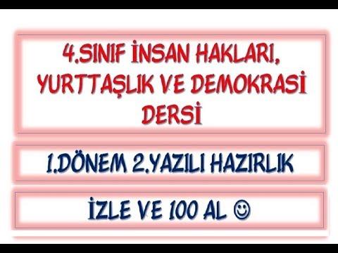 4sınıf Insan Haklarıyurttaşlık Ve Demokrasi Dersi 1dönem 2yazılı