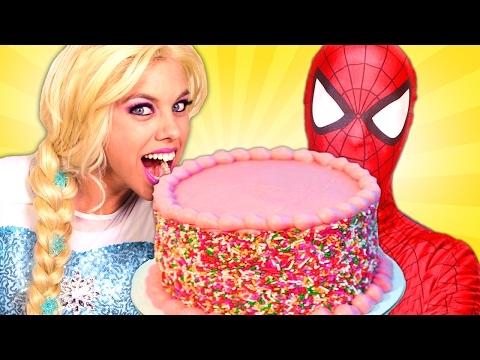 Elsa And Spiderman Cake Challenge