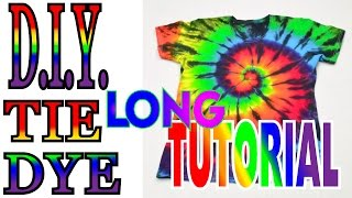 How to Tie Dye a Rainbow & Black Spiral Shirt [Long Tutorial] #37