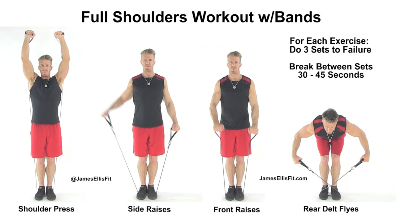 Complete Shoulders Workout Using Resistance Bands Youtube