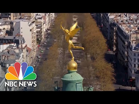 Drone Video Captures Empty Parisian Streets During Coronavirus Lockdown | NBC News