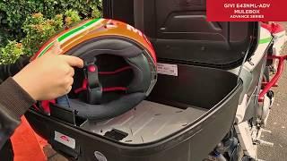 Review singkat tentang box motor Givi E43NML-ADV yang terpasang pad...