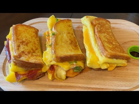 One Pan Egg Toast - Three Ways | Korean Style French Toast Omelette | Breakfast Egg Recipes
