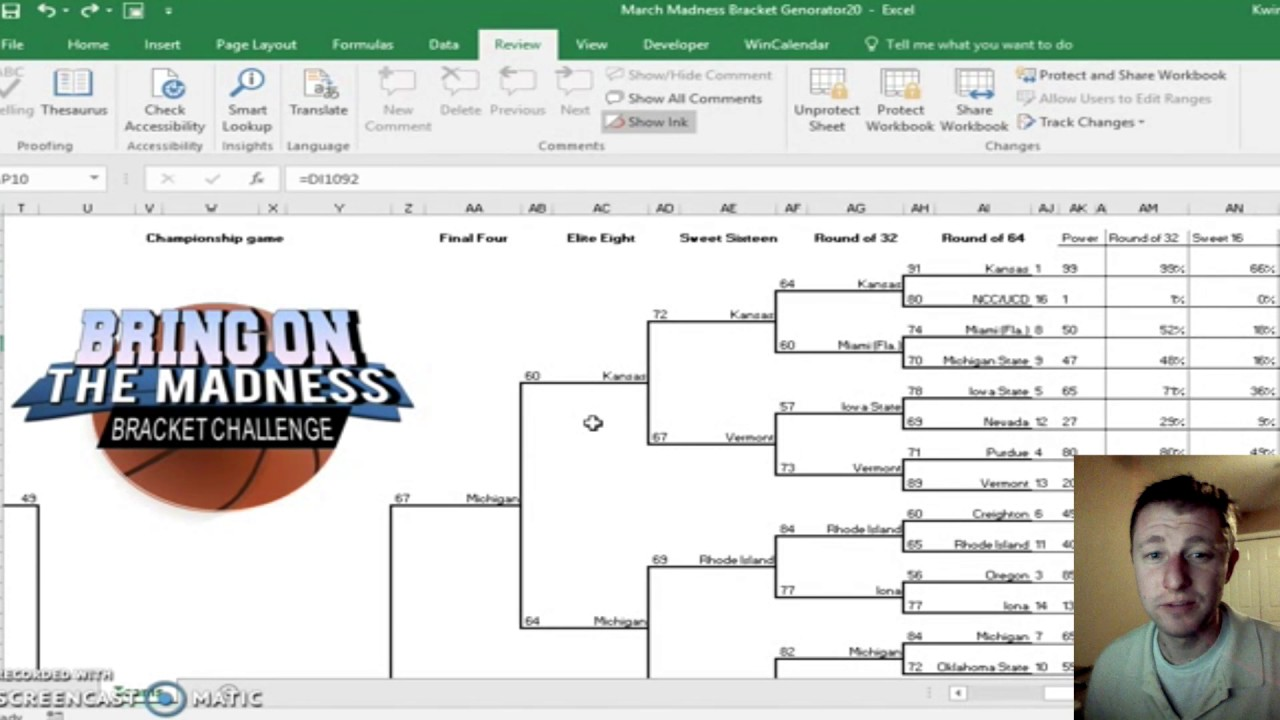2017 Ncaa Tournament Bracket Generator Excel Youtube