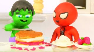 SUPERHERO BABIES COOKING ❤ SUPERHERO BABIES PLAY DOH CARTOONS FOR KIDS