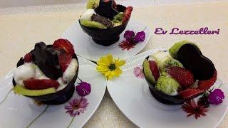 Çikolatadan kase yapımı -Çikolata kasesinde dondurma sunumu -Ev Lezzetleri