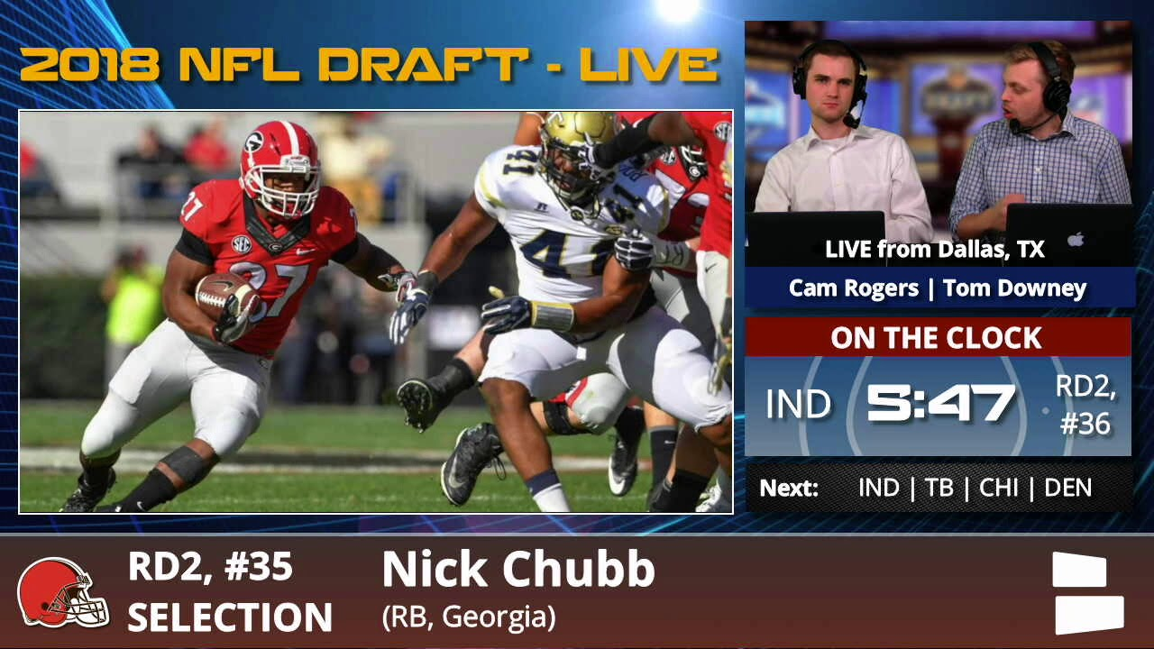 98f900a7b Cleveland Browns Select RB Nick Chubb From Georgia With Pick  35 In 2nd  Round Of 2018 NFL Draft