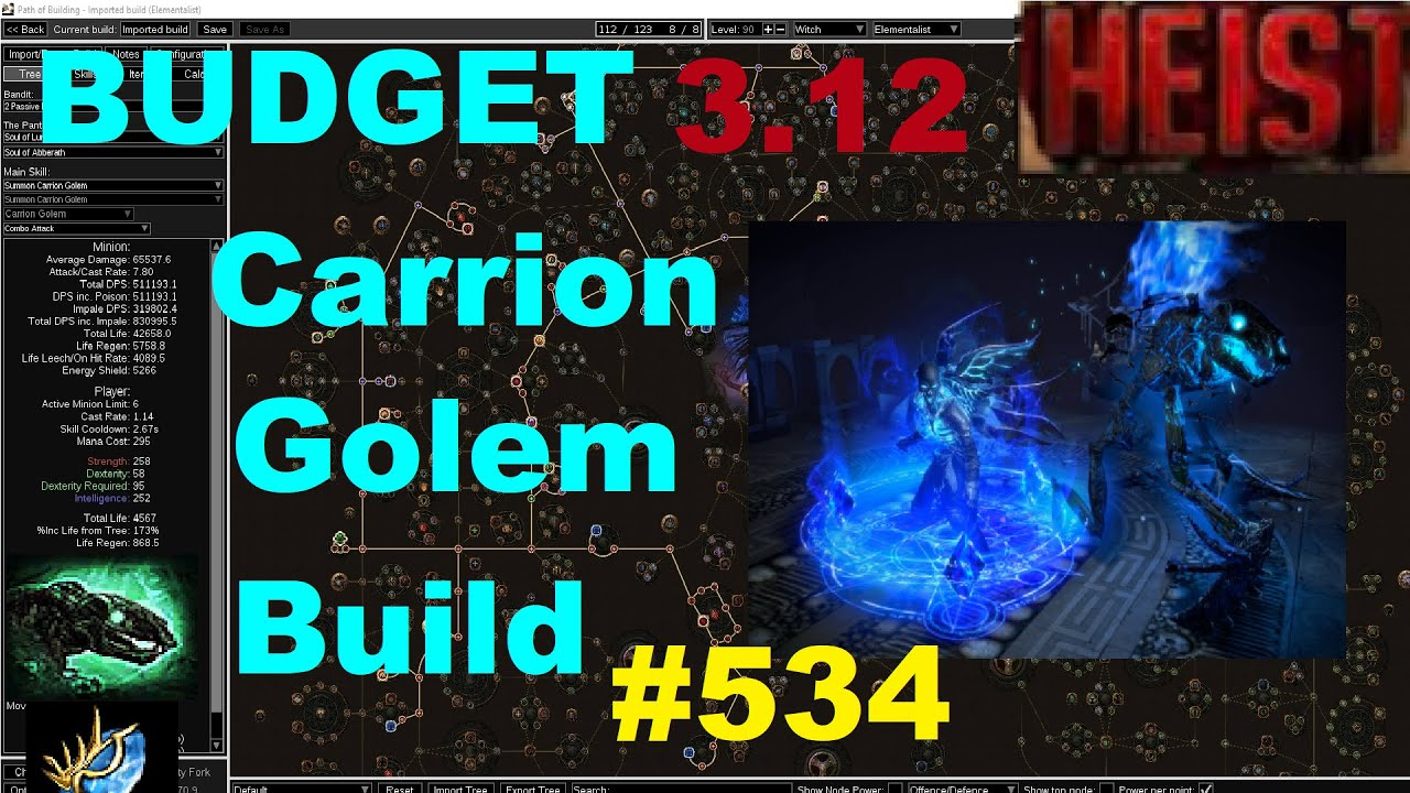 Path Of Exile 3 12 Budget Carrion Golem Build Guide For Heist League 534 Youtube