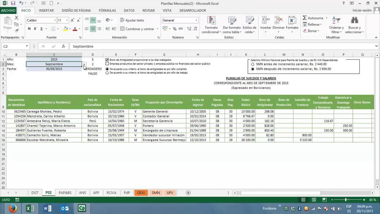 Descarga y llenado de plantilla de sueldos y salarios Formato de nomina para pago de sueldos