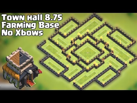 Town hall 8 75 farming base th 9 no xbow 2015 youtube