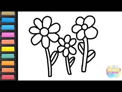 Flower Coloring For Kids! Learn how to Draw and Color flower!|HappyKids-Color,Paint,Draw,And Play