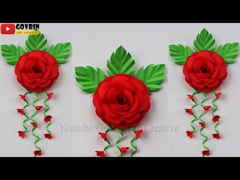 DIY Paper Rose Wall Decoration Ideas - Cara Membuat Hiasan Dinding Cantik dari Kertas - Bunga Hias