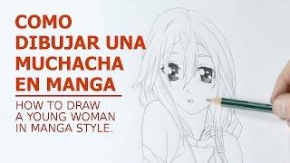 Dibujo de una joven en manga/A young woman in manga style.