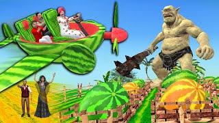 जादुई तरबूज हवाई जहाज Magical Watermelon Airplane Comedy Story   Hindi Kahaniya 3D Animated Stories