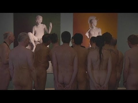 Austrian nudists tour a 'Naked Men' exhibition in Vienna