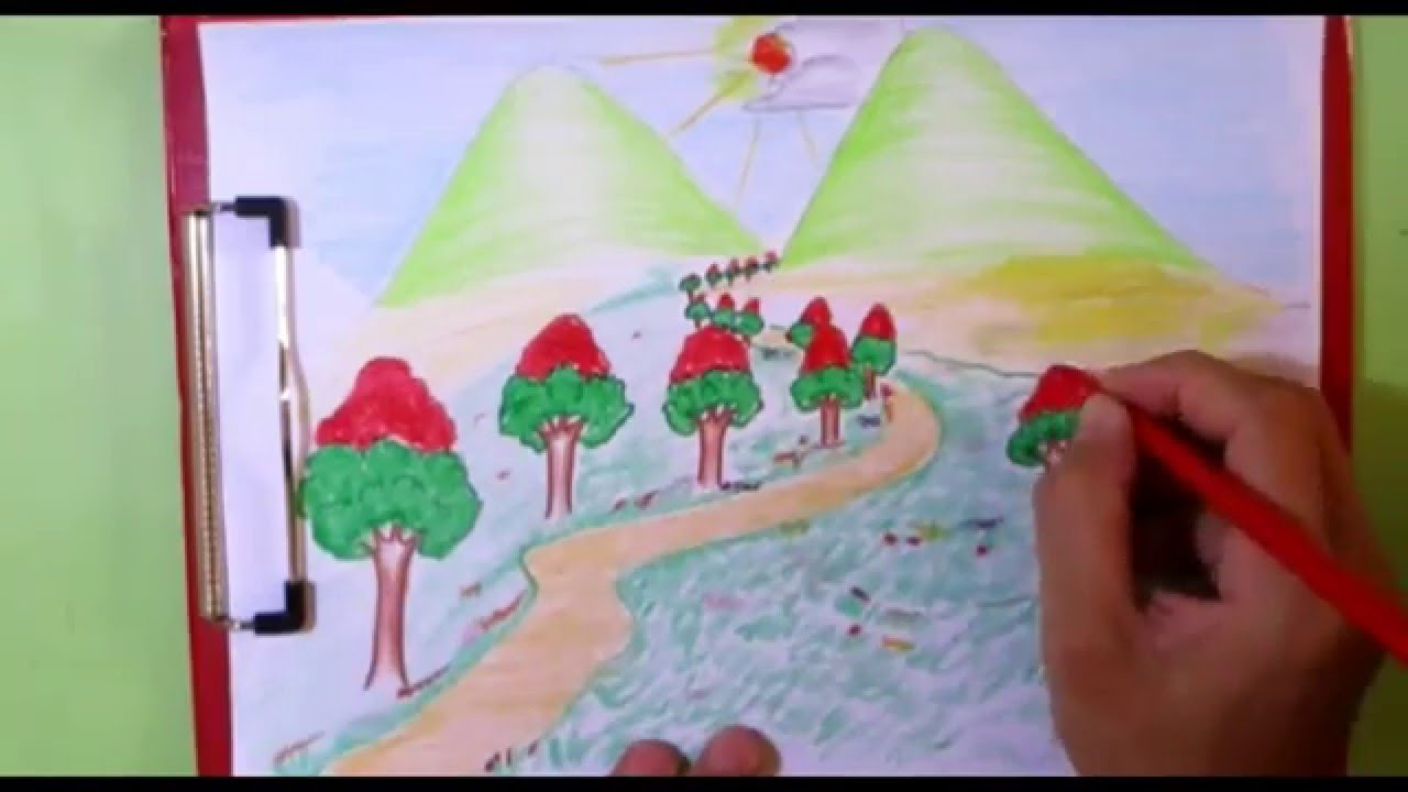 How To Draw Mountain Sun And Trees Kids Drawing Scenery Drawing