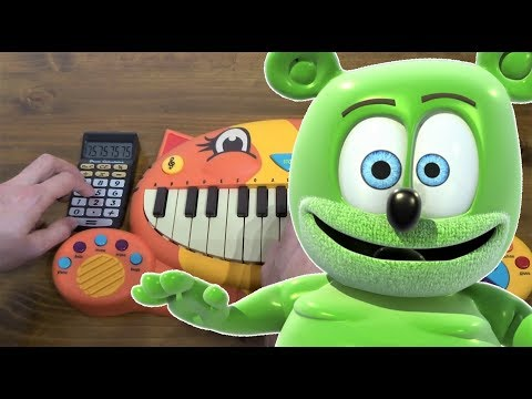 THE GUMMY BEAR SONG ON A CAT PIANO AND A DRUM CALCULATOR