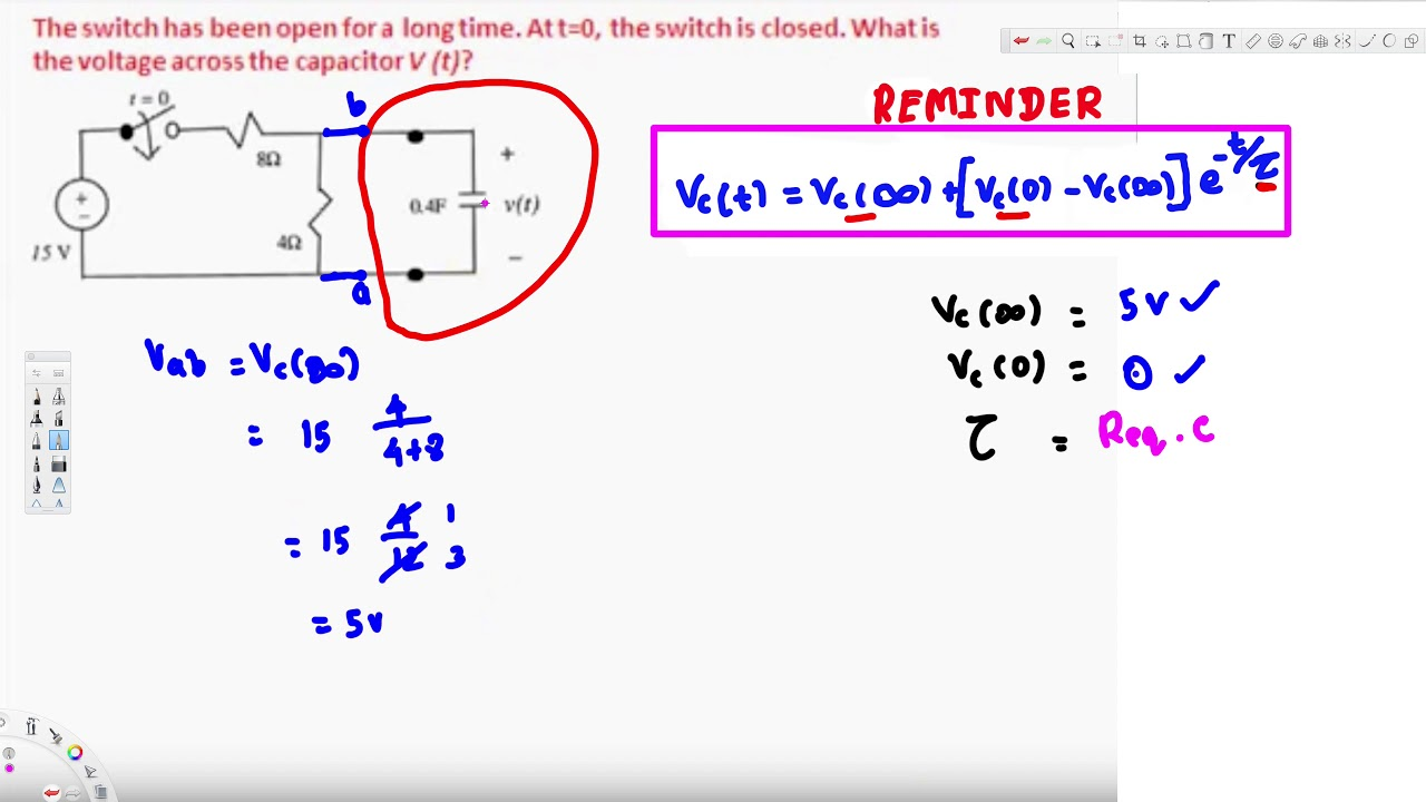 example 2 transient analysis rc circuit 1st order youtubeexample 2 transient analysis rc circuit 1st order