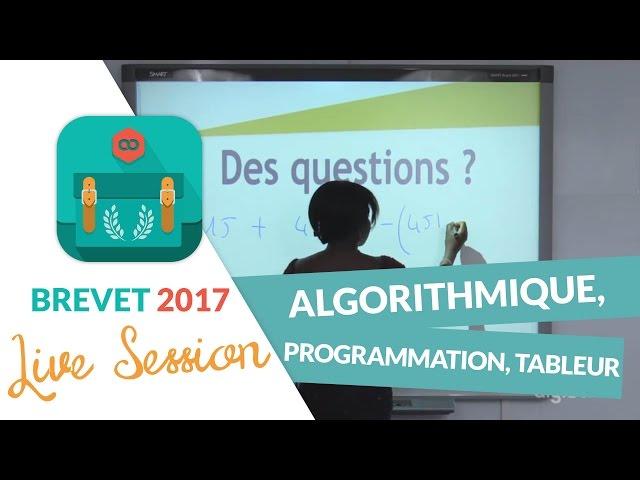 Brevet 2017 : Révisions Live de Maths : Algorithmique, programmation, tableur - digiSchool