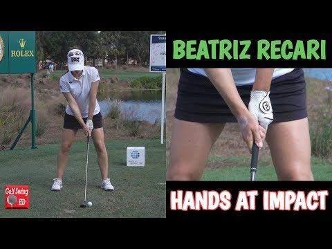 BEATRIZ RECARI HANDS AT IMPACT IRON GOLF SWING 1080 HD