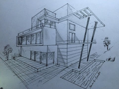 ARCHITECTURE  MODERN HOUSE DESIGN (2-POINT PERSPECTIVE VIEW)