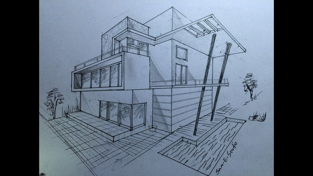 ARCHITECTURE MODERN HOUSE DESIGN 2 POINT PERSPECTIVE VIEW