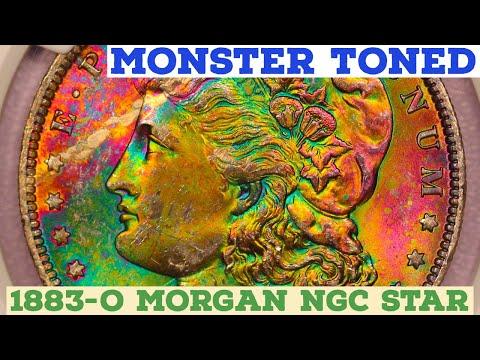 MONSTER RAINBOW TONED! 1883-O Morgan Silver Dollar NGC MS64 Star