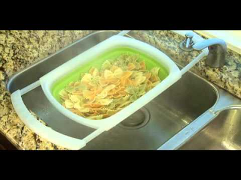 Collapsible Over The Sink Colander Kitchen Gadget Demo