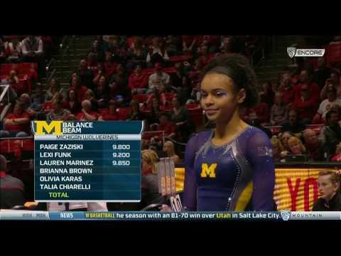Brianna Brown Michigan  Balance Beam 9.825  Michigan at Utah 2017