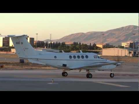 USA Beechcraft C-12 Huron (King Air 200) Full Power Takeoff From San Jose Int'l Airport