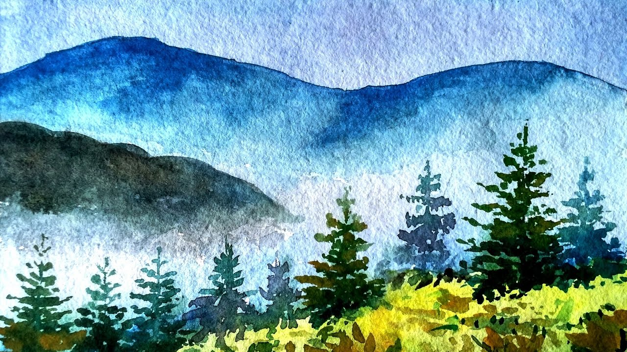 Painting Foggy Misty Mountains in Watercolor  Paint with