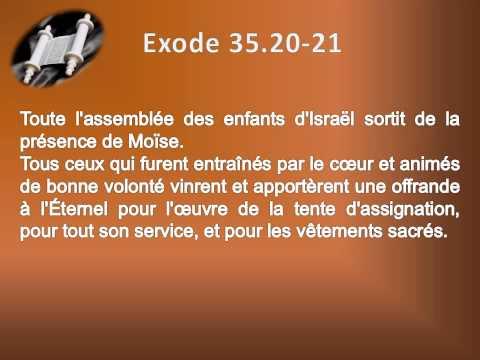 02 Le livre de l'Exode Chap 35 Texte déroulant et l'audio  vidéo évangile Bible La Parole de Dieu