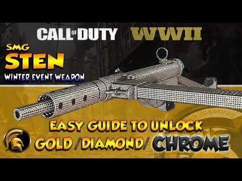 COD WW2 - WINTER SIEGE WEAPON (STEN) Smg  (Gold/Diamond/Chrome Camo's) Easy Headshots - Guide